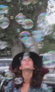 Blowing bubbles! UP! UP! and away!