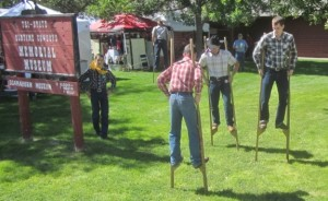 The band takes a break to stretch their legs at the Willow Tree Festival in Gordon, NE