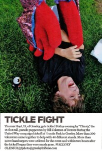Giant Puppet Tickle Fight! in Greeley! Kid doesn't stand a chance! Greeley Tribune 9-12-2009
