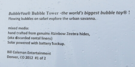Here is the tag for the Rainbow ZEEbra Bubble Tower.