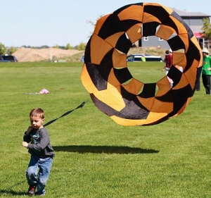 Parachute races are fun for kids of all sizes.  With a variety of parachute sizes from 3 feet to 10 feet, even a little guy can compete against the biggest opponent!