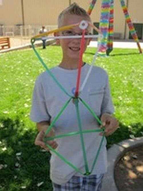 Having fun! Connected Stretch-a-Straw pyramids.