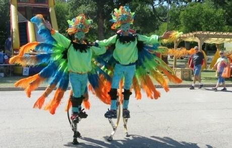 The Birds, stilted strollers